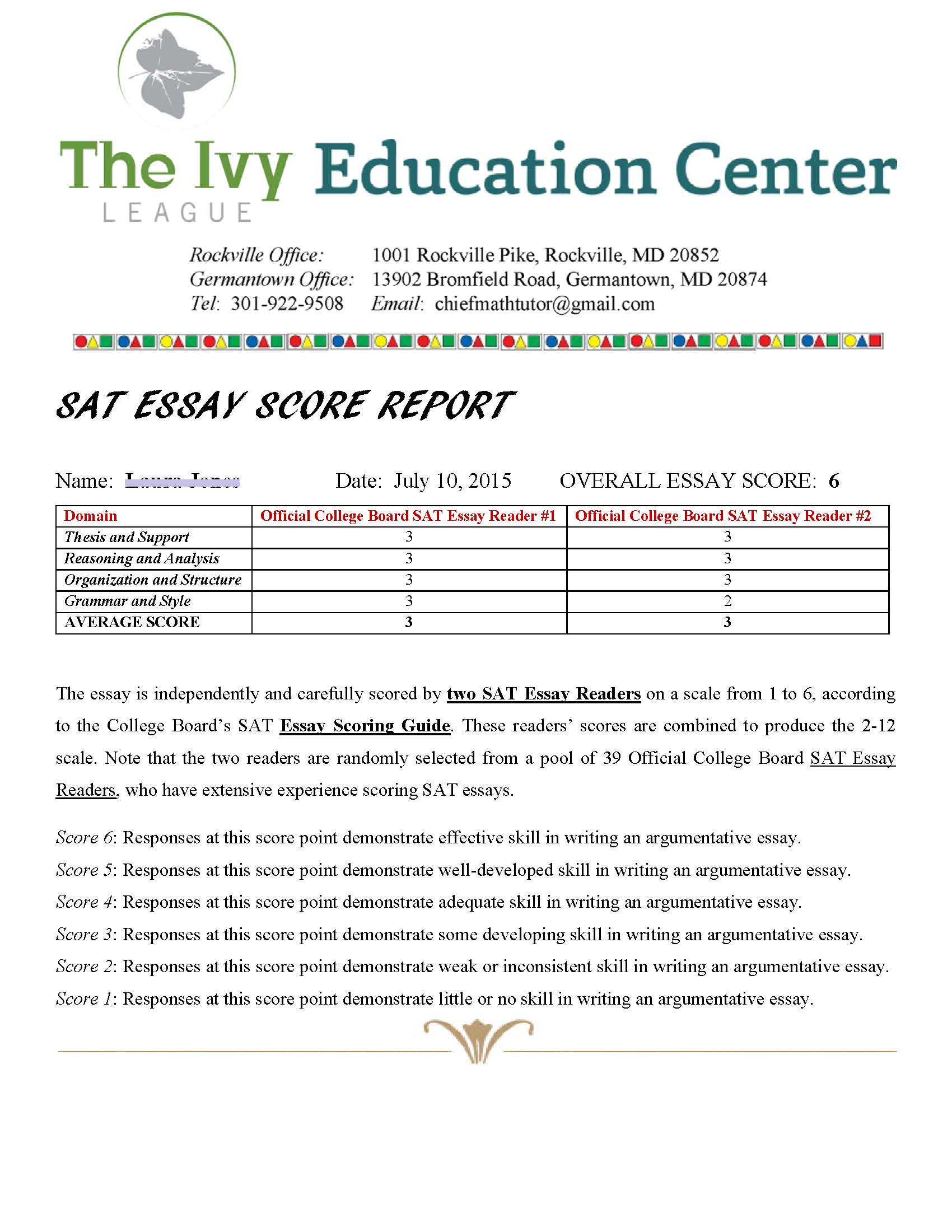 sat english prep ivy league education center sat essay score report sample1