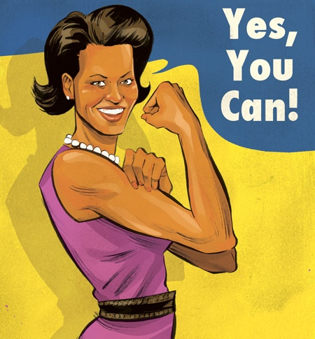 Yes-You-Can-with-Michelle-Obama-featured-in-Chatelaine-Magazine_-Inspired-by-J_-Howard-Millers-We-Can-Do-It-poster_-By-Toronto-based-illustrator-Kagan-McLeod-