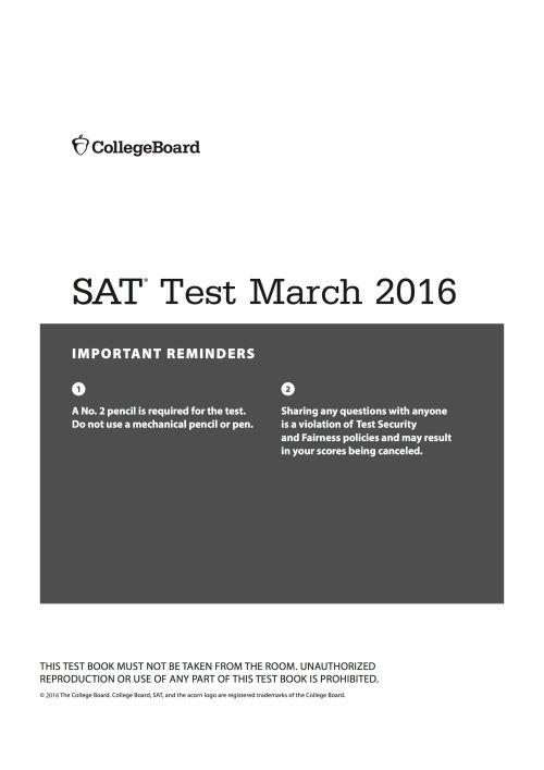 SAT Test 2016 March