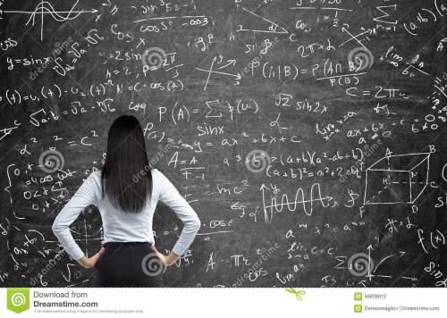 设法解决数学题一名体-的妇女的背面图-56838612.jpg